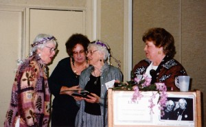 Lucile and Rosemary receive UUWF Award from Arlene Johnson and Janet Nortrom, 1998 GA