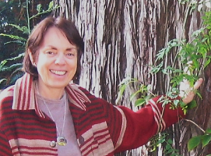 Photo of Liz Fisher with Redwood Tree