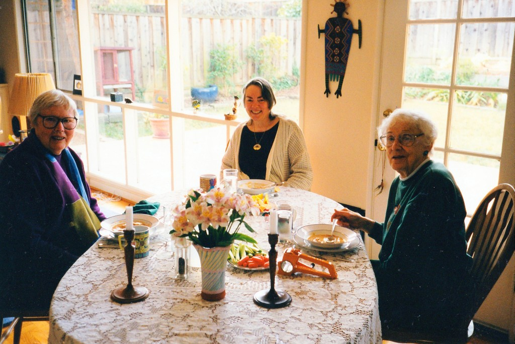 Rosemary, Liz, Lucile, at Linda Schuck's home in Calif., Jan 2000