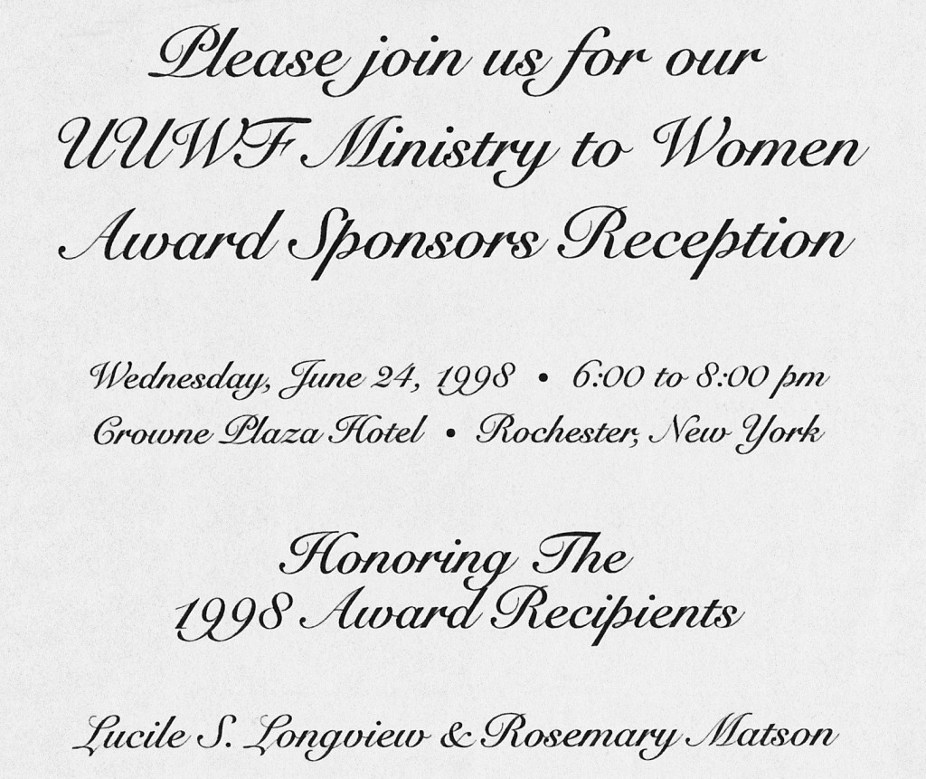 UUWF Ministry to Women Award Invitation